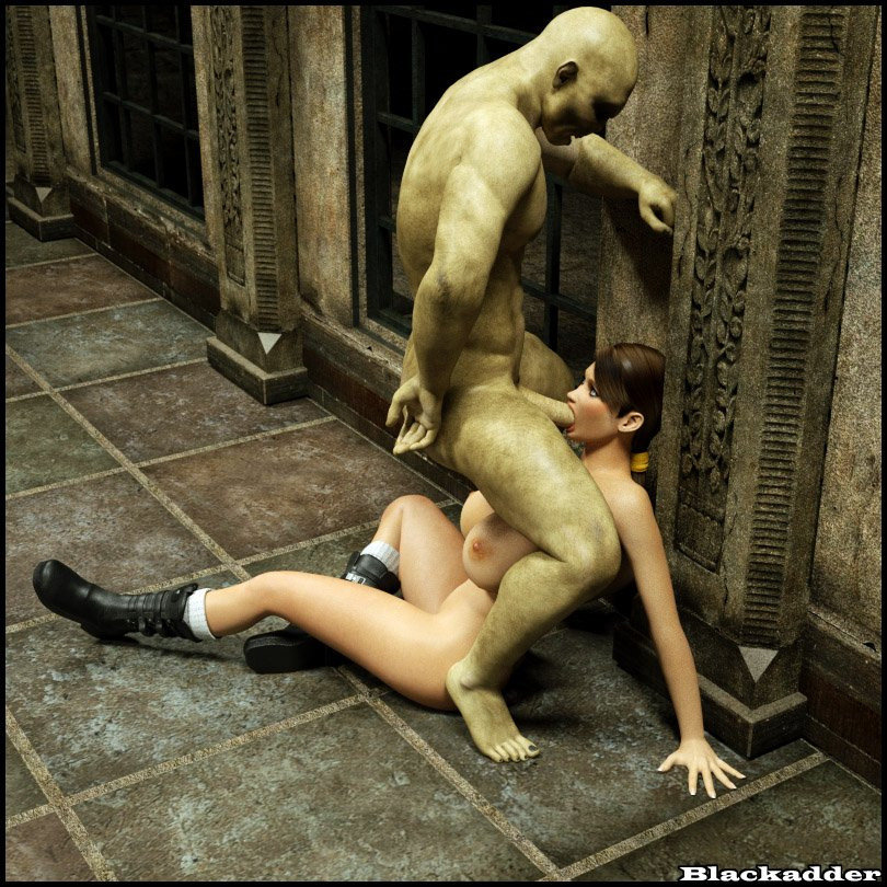 Lara is cornered and pinned to the wall by a ghoulish cock and she's nude, ...