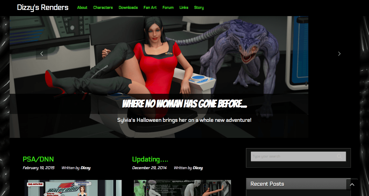 Example of a hosted site, run on WordPress. Courtesy Dizzy Dills.