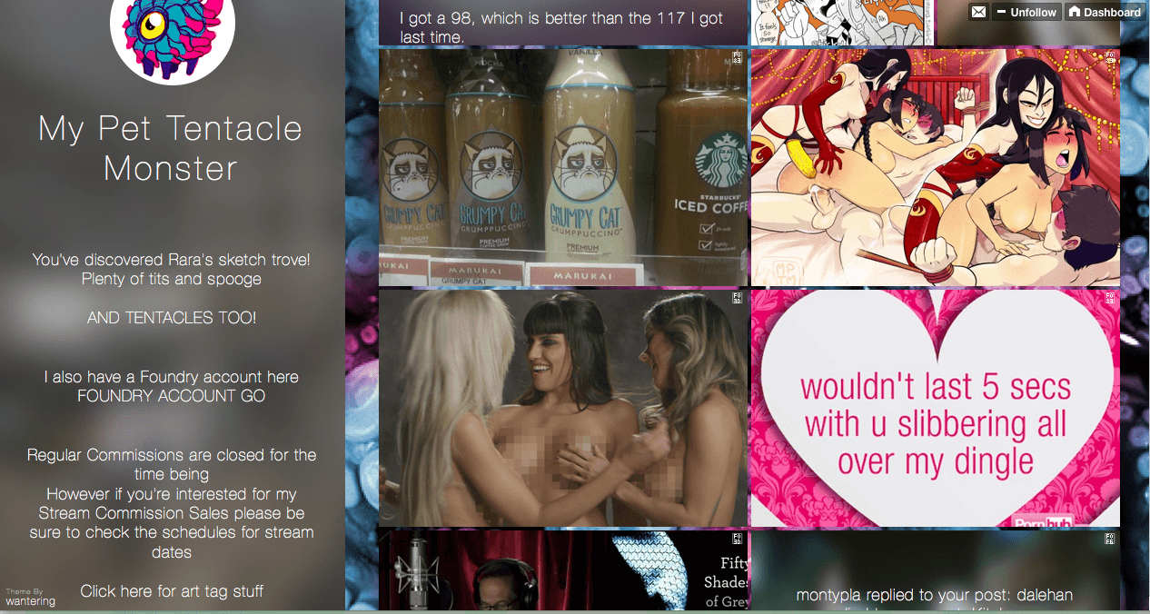 Example of a Tumblr blog, courtesy of My Pet Tentacle Monster.