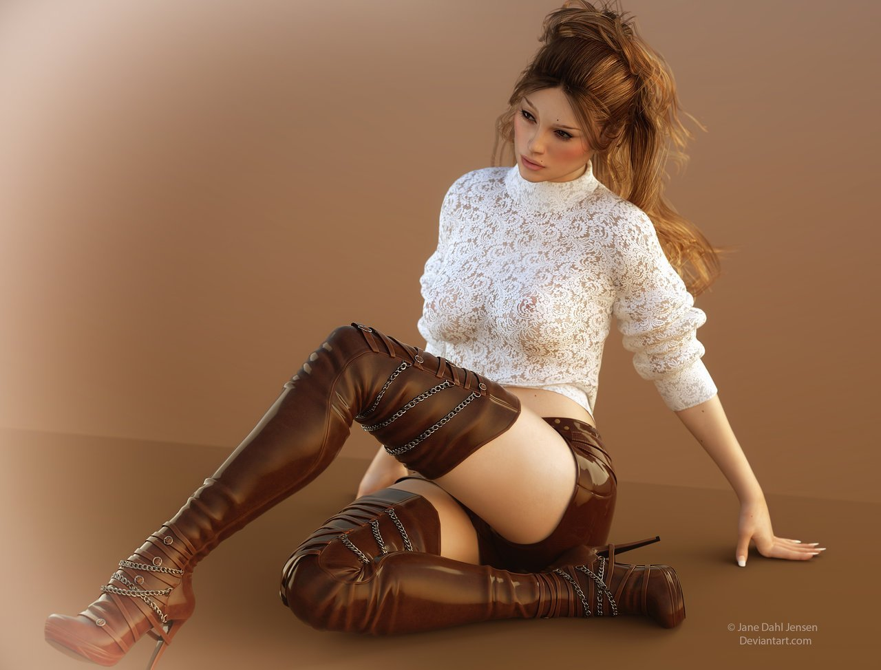 janedj – Boots Lace And Hotpants