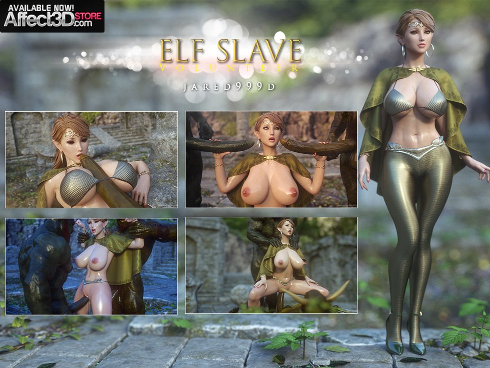 Beautiful 3D girl Karen takes on two orcs in Jared999D's Elf Slave: Volunteer