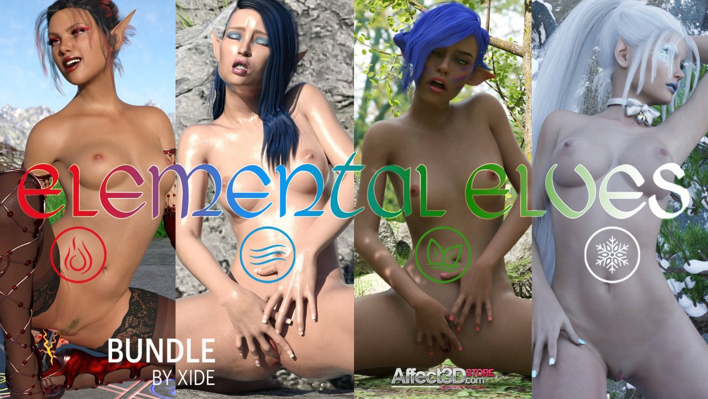 Double Pin-Up / Masturbation Release from Xide: Elemental Elves & After School Bundles!
